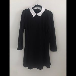 Black 3/4 Sleeve Dress with White Collar